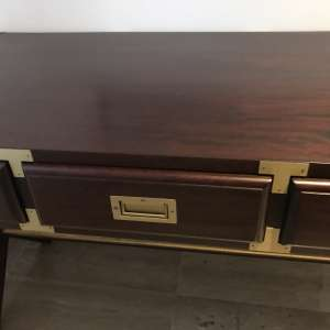 For sale: Mahogany desk with brass features - fabulous quality and matching items available